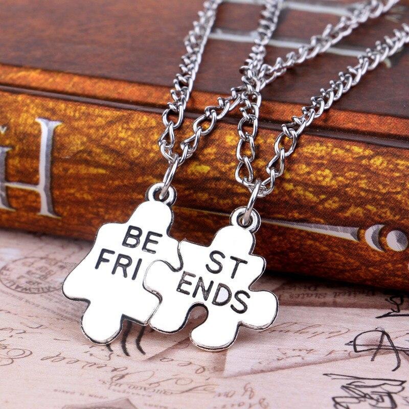 d0552b862383 2 unids set moda estilo amistad Collar de plata mejor amigo rompecabezas  Collar para las mujeres joyería fina en Collares pendientes de Joyería y  accesorios ...