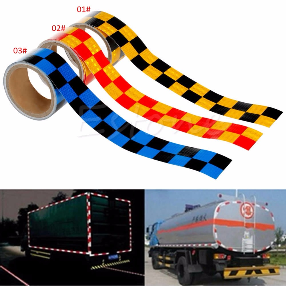2X118 Chequer Reflective Safety Warning Conspicuity Tape Strip Sticker 3m new intensity reflective car sticker double color chequer roll signal pvc workplace safety warning tape