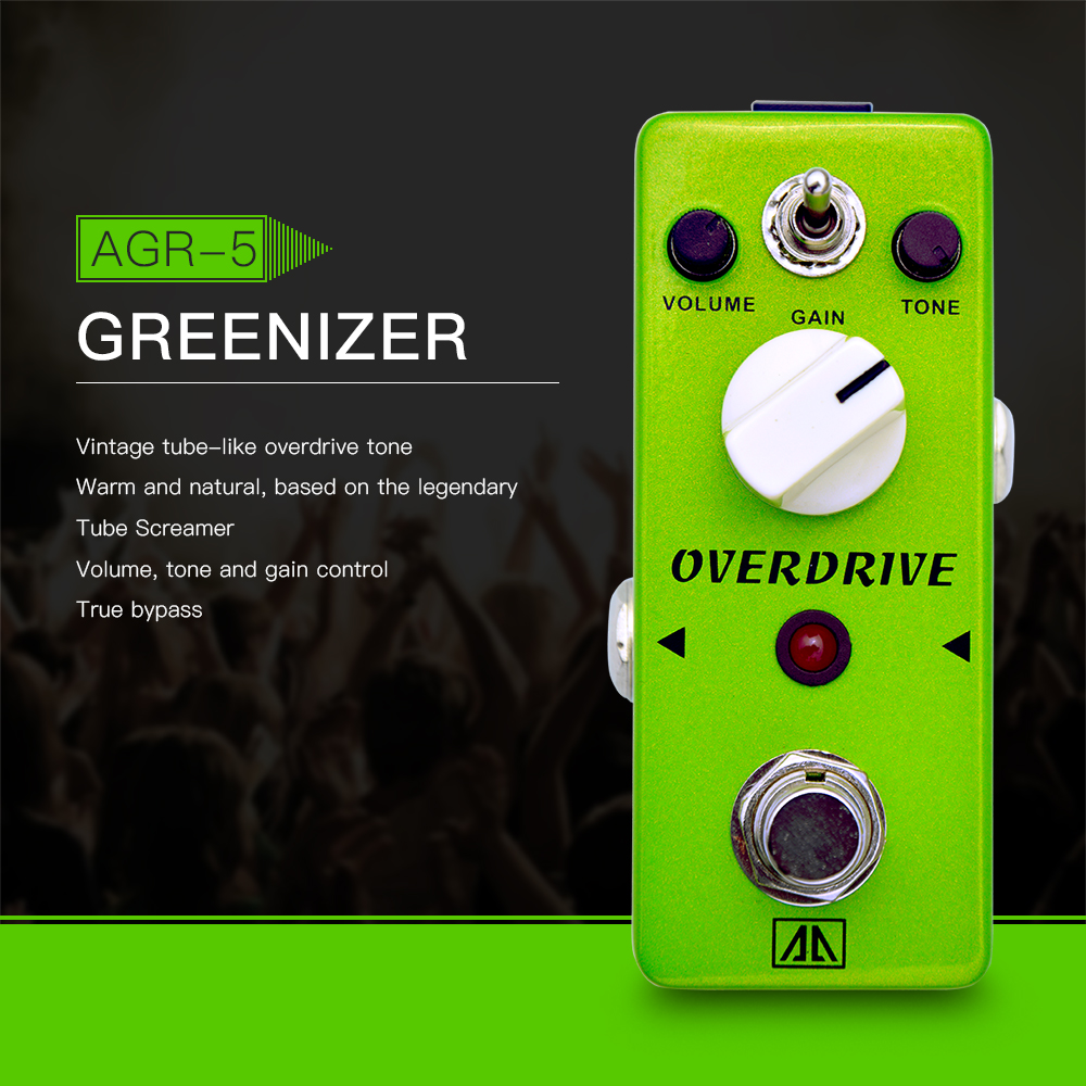 AROMA AGR-5 Greenizer Tube-like Overdrive Guitar Effect Pedal 2 Modes Aluminum Alloy Body True Bypass, Base on Tube Screamer aroma agr 3 true bypass greenizer vintage overdriver electric mini singer guitar effect pedal professional guitar parts