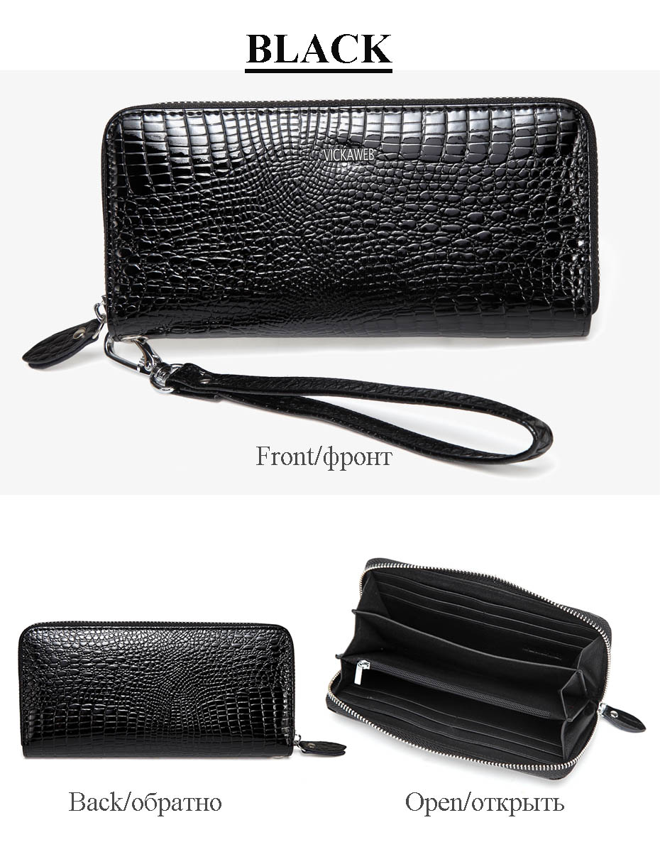 VICKAWEB Wristlet Wallet Purse Genuine Leather Wallet Female Long Zipper Women Wallets Card Holder Clutch Ladies Wallets AE38-019