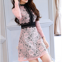 Elegant Lace Mini Dress 2017 Autumn Winter Turtleneck Skinny Dresses Female High Quality Slim Waist Vestidos
