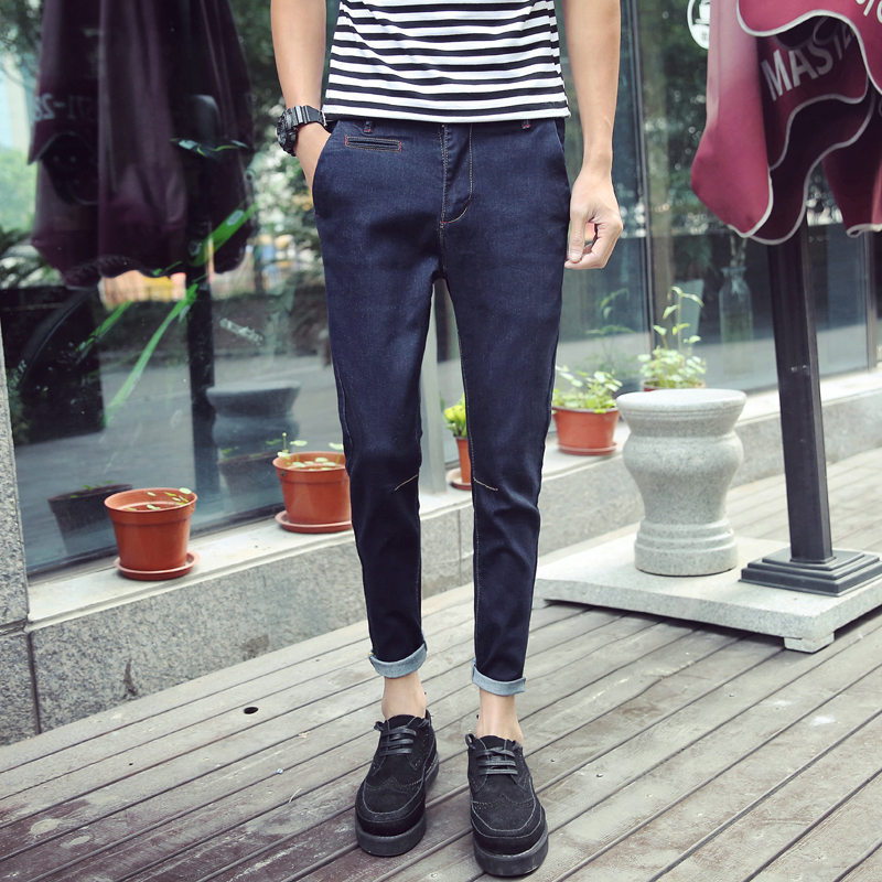 2018 Spring And Summer New Jeans Mens Slim Feet Stretch Trousers Solid Color Casual Fashion Personality Street People