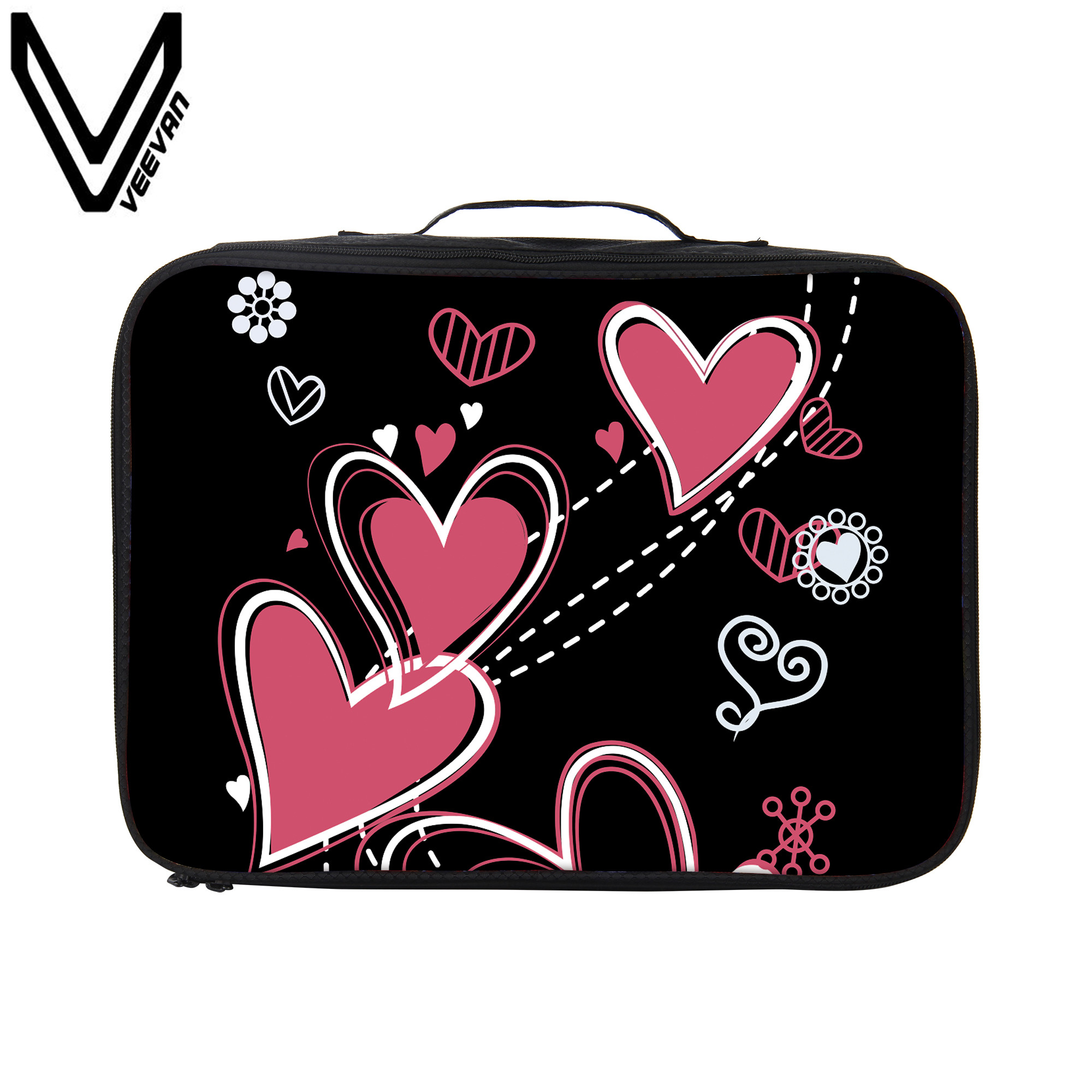 VEEVANV Waterproof Microfiber Love Travel Bags Hand Luggage 3D Print Troller Travel Bag for