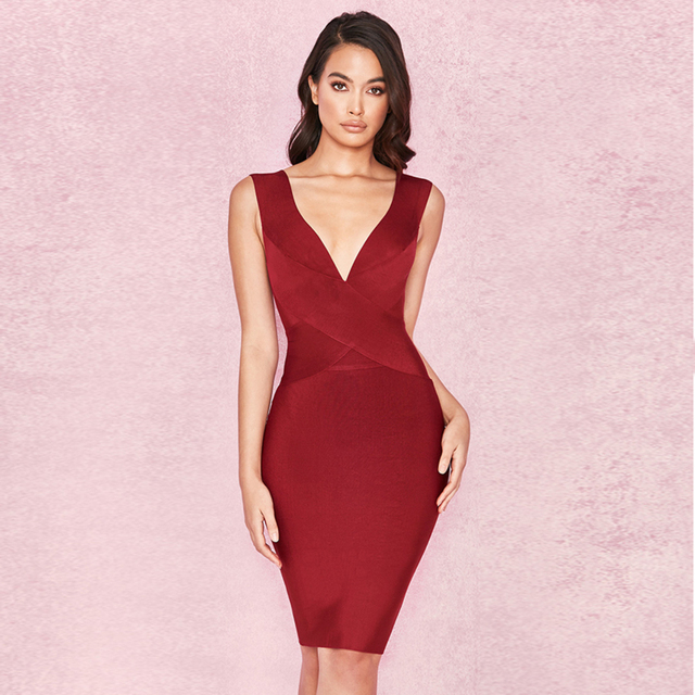 2018 New Style Spring Dress Women Sexy Wine red Sleeveless Patchwork V neck  Bodycon Vestidos Celebrity c0db502e6a