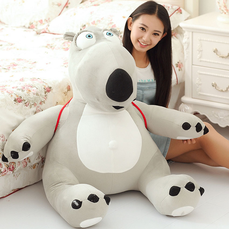 huge lovely plush Unlucky bear toy new big creative gray bear toy with a bag gift about 80cm 0444 huge lovely panda toy big plush panda with stripe clothes birthday gift about 90cm