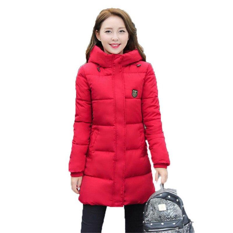 2016 Kadınlar Kalınlaşmak Parka Aşağı Pamuk Giyim Lady Uzun Kış Ceket Kadın Kırmızı Giyim Kapüşonlu Öğrenci Kadın Ince Kadın Ceket