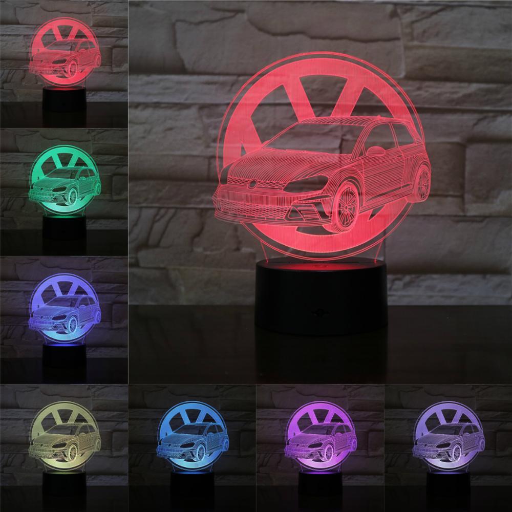 3D Illusion Visual Night Light VW Sedan 3D Lamp Gifts For Kids Bedside Sleeping Lights RGB Muti-color Led Flashlights Soft Bulb