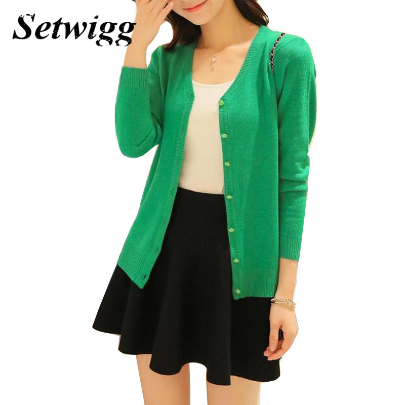 SETWIGG Female Spring Candy Color Knit Cardigan Single-breasted Sleeve Knitted Thin Sweet Casual Short Cardigan For Small Ladies