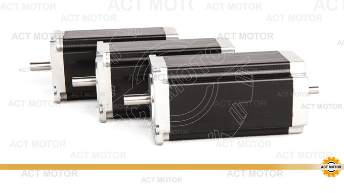 ACT Motor 3PCS Nema23 Stepper Motor 23HS2430B Dual Shaft 4-Lead 425oz-in 112mm 3.0A Bipolar 8mm-Diameter CE ISO ROHS Laser Cut