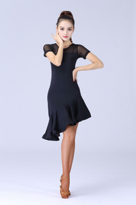 Image 2 - Женский костюм для латиноамериканских танцев, черное кружевное платье с короткими рукавами для сальсы и самбы, 2019