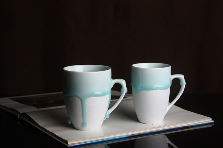 Handmade  Creative  Ceramic Blue Flow Glaze Mug