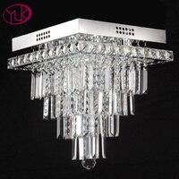Youlaike Modern Crystal Chandelier For Living Room Square Flush Mount LED Chandeliers Lighting Bedroom Lustres De