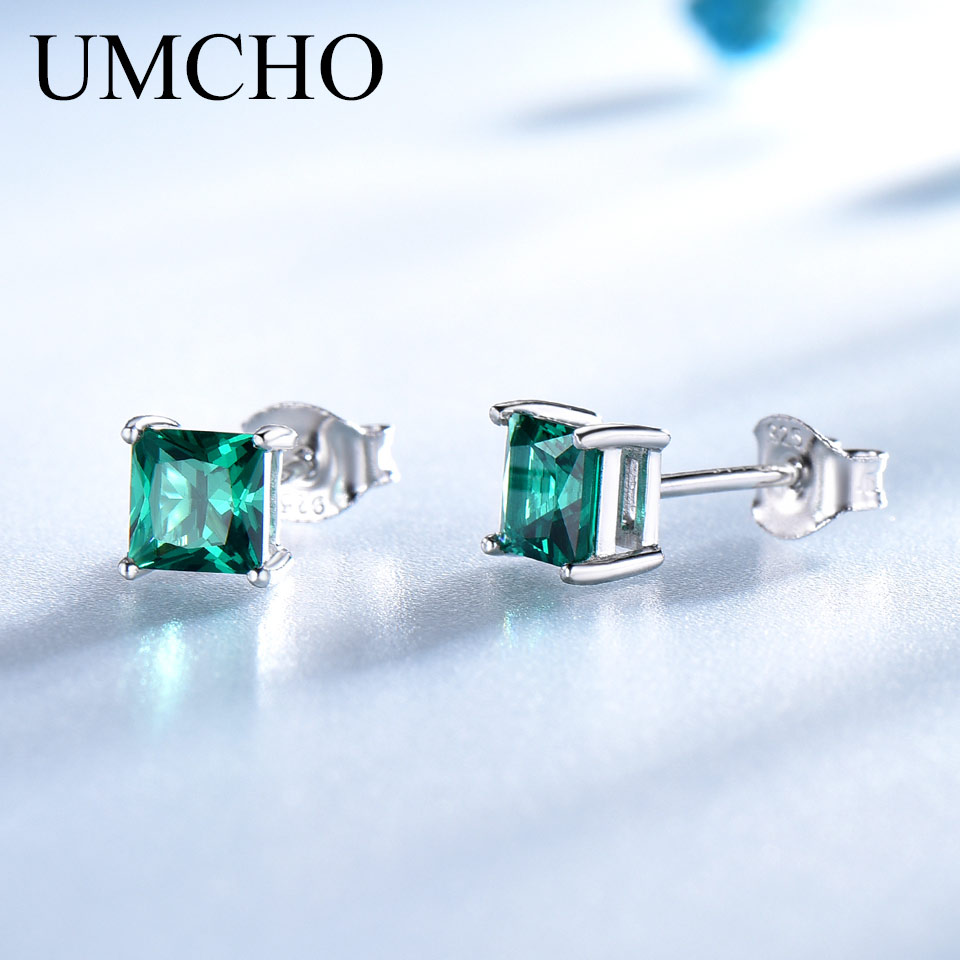 UMCHO Solid Real 925 Sterling Silver Jewelry Created Emerald Square Stud Earrings For Women Elegant Birthday Gifts Fine Jewelry