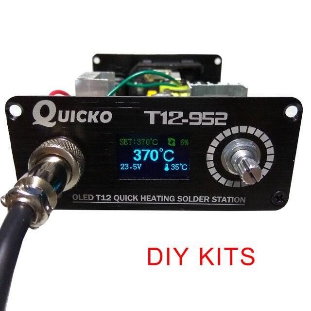 QUICKO T12 STC-OLED stacja lutownicza żelaza DIY zestawy części T12-952 cyfrowy regulator temperatury lutownica z metalowej obudowie