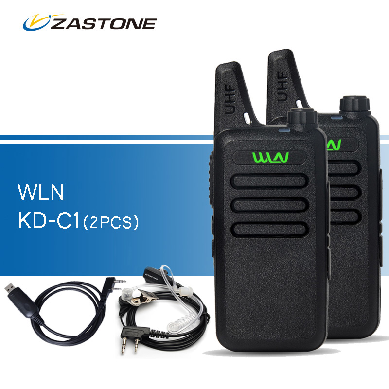 2pcs lot WLN KD C1 Black Walkie Talkies UHF 400 470 MHz Ham Radio Handheld Transceiver