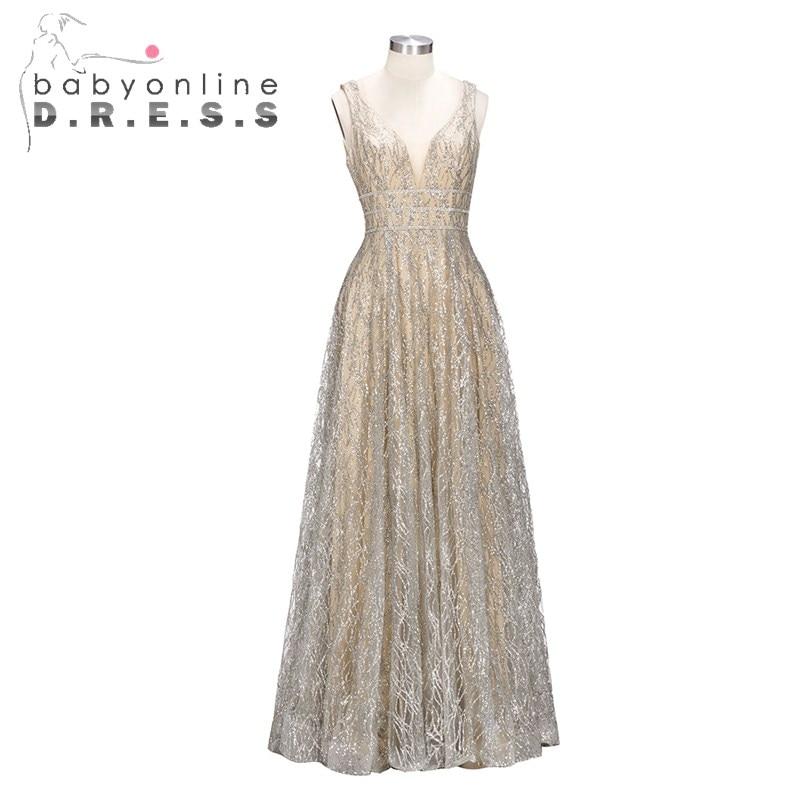 Babyonline Reflective   Dress   Sexy Double V Neck   Prom     Dresses   2019 Luxury Elegant A Line Chiffon   Prom     Dresses   Robe de Soiree