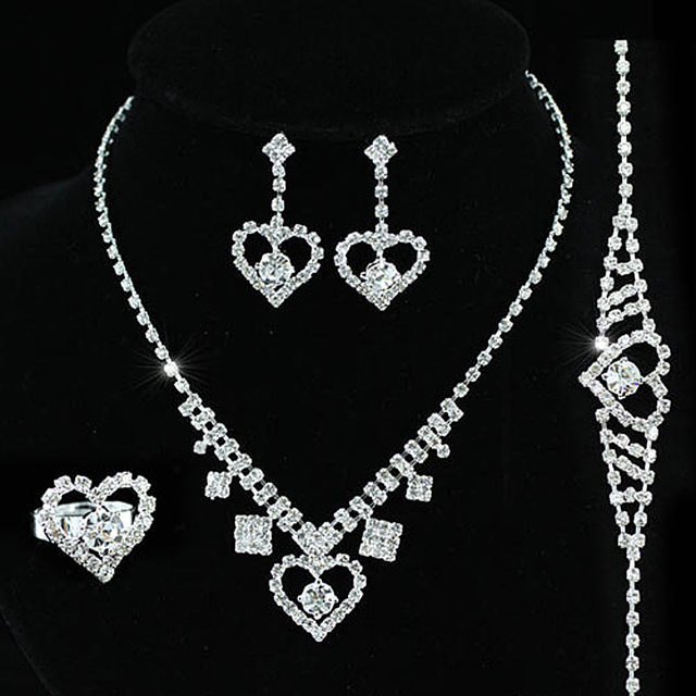 Bridal Wedding Party Quality Crystal Heart Necklace Bracelet Ring Earrings Set Bridesmaid Jewelry Cs1124