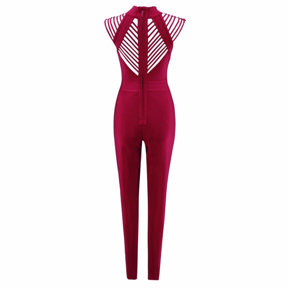 Date Combinaison Mince Évider Celebrity Rouge Moulante Sexy Tricoté Femmes Mode Bandage De Salopette 2018 35j4ARL