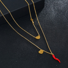 Red Enamel Chili Stainless Steel Necklaces women Loving Heart key Chili Pendants Necklace Gold/Silver Color Jewelry 20mm rose gold and silver 3d chili charm chili pepper stainless steel pendant diy earrings necklace accessories sale by package