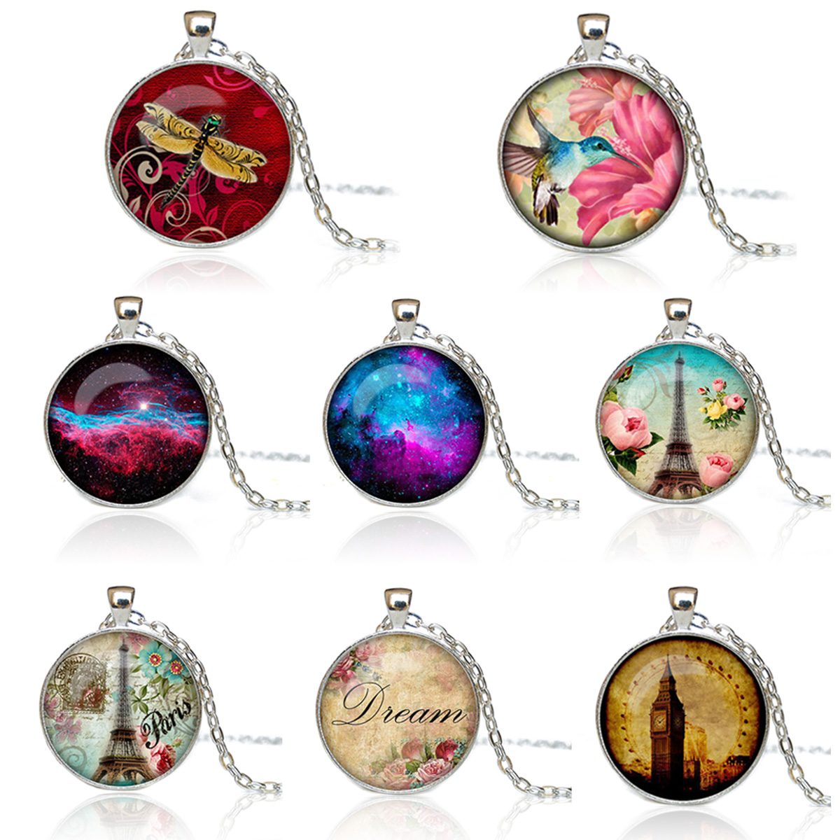 New Fashion Galaxy Necklaces Nebula Space Animal Glass Cabochon Pendants Brand Jewelry for Women Men Best Friend Ship Gift
