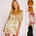 Free Shipping Spring Velvet Dress Women Short Sleeve Casual Mini Bodycon Ladies Dresses Satin Slip Pink Gold Glitter Flare Dress