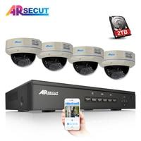 Plug Play 4CH POE NVR CCTV System Onvif P2P 1080P HD Vandalproof Dome IR IP Camera