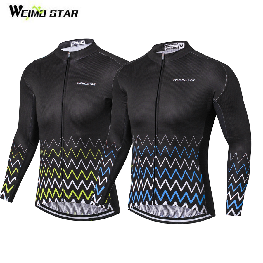 WEIMOSTAR Mens Cycling Jersey Long Sleeve Ropa Ciclismo Outdoor Sports Cycle Clothing Quick Dry Riding Polyester Clothes Black title=