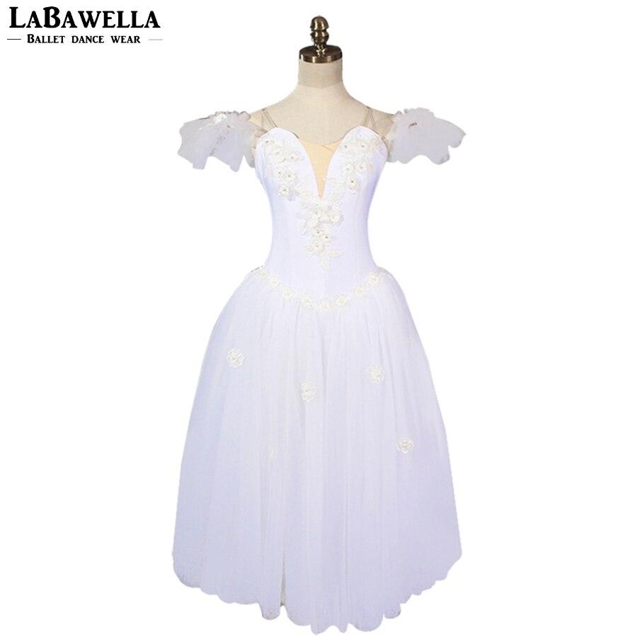 La Sylphide romantique Ballet Tutu robe ballerine robe BT8909 femmes blanc fée professionnel Ballet Long Tutu avec des ailes