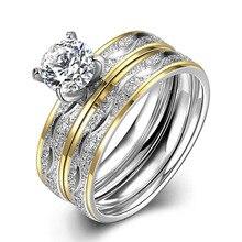 2017 New Fashion Charm Jewelry Zircon Double Ring Titanium Steel Wedding Pair Rings For Women Men CX72
