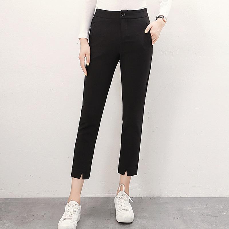 Base gris De 58 Nouveau Cheville Mi Pantalon Couleurs Tissu 2 Femmes Mode Rayonne Noir Conception Taille Simple longueur Poches 2018 Crayon w6RBZzqw