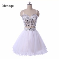 Sexy 2016 Short Cocktail Prom Gowns Beaded Two Piece White Tulle Ball Gown Mini Short Homecoming