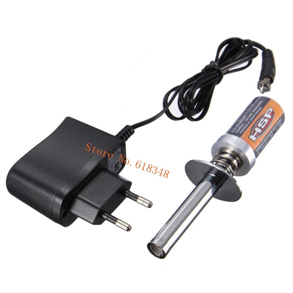 1800 mAh recargable Glow Plug encendedor encendido Starter Kit cargador de CA para gas nitro Motores potencia 1/10 1/8 RC Coche HSP 80101