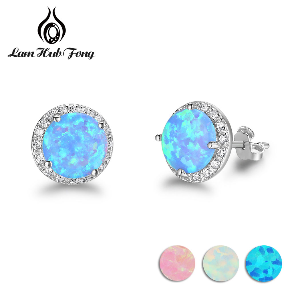 Classic Round White Pink Blue Fire Opal Stud Earrings 925 Sterling Silver Cubic Zirconia Jewelry Gift for Women (Lam Hub Fong) 925 sterling silver earrings jewelry with blue opal for women classic drop earrings fox shape permanent fashion anniversary gift