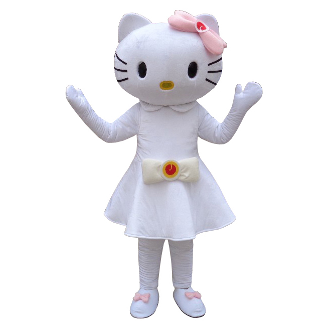 Fancy dress Hello kitty Mascot costume for adult animal white dress Halloween Purim party event