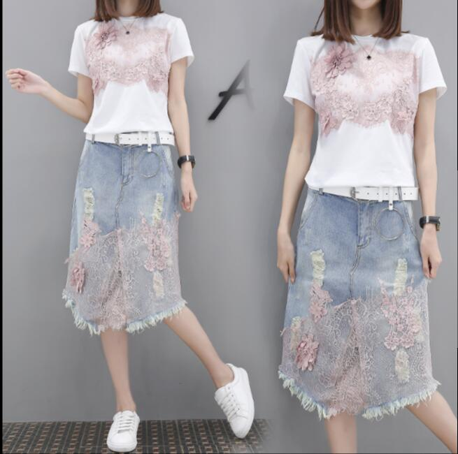 4xl plus size women set clothing spring autumn summer 2018 lace t shirts high waist denim skirts two pieces suits female A4990