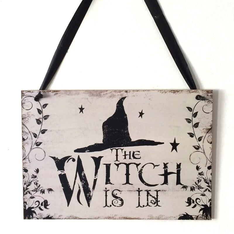 Ведьма в деревянный знак Хэллоуин творческие украшения шляпа ведьмы стена двери вешалка висячие украшения