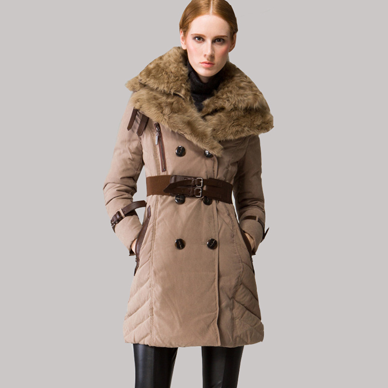 New European Slim Winter Duck Down Coat Women Long Jacket Women Double Quality Wool Large Collar Jackets High Quality JY-1077