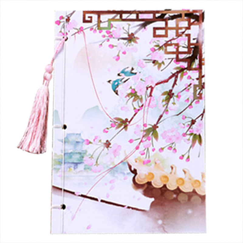 BLEL Hot 208x140mm Chinese style tassel notepad vintage diary color page notebook stationery Gift(Sakura such as spring)BLEL Hot 208x140mm Chinese style tassel notepad vintage diary color page notebook stationery Gift(Sakura such as spring)