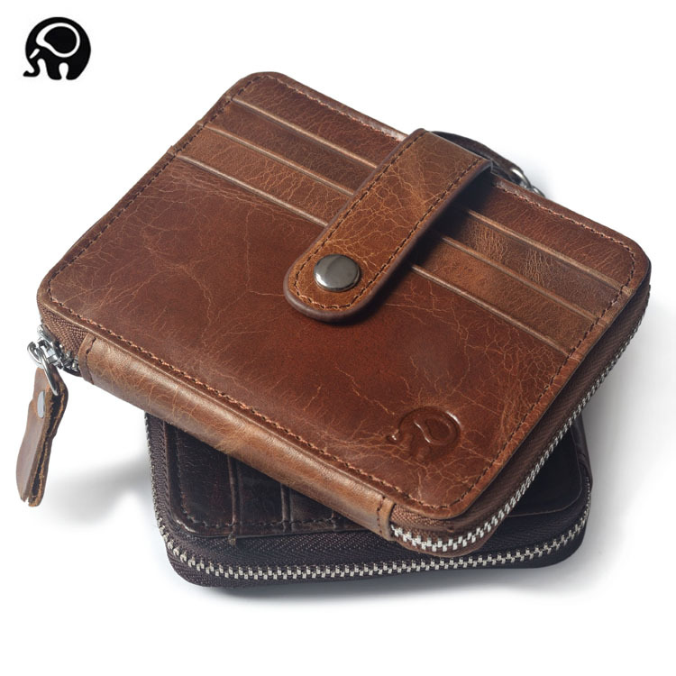 men zipper Wallet Business Card Holder Coin Purse Clutch bank cardholder leather cow pickup package bus card ID Holder Organizer