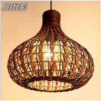 Birdcage design retro rattan pendant lighting Pastoral vintage restaurant bar decoration hanging lamp