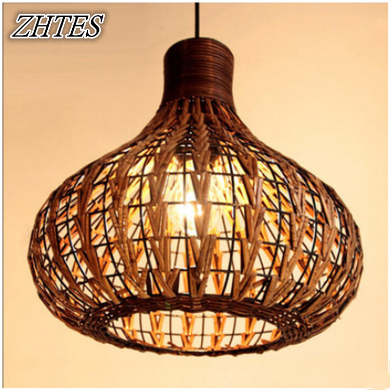 hand knitted rattan dining room pendant lights southeast asi