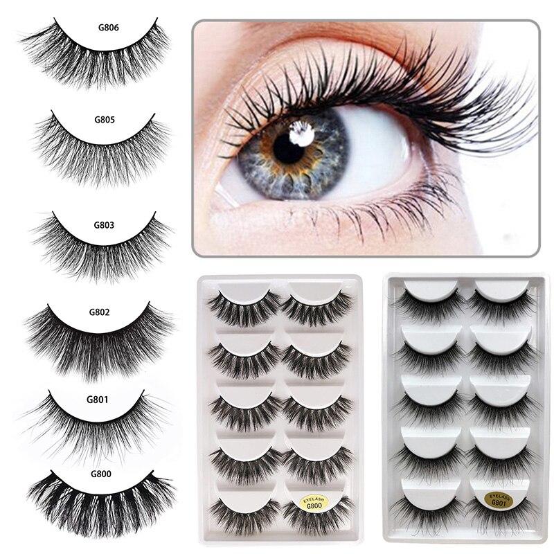 bdd922e149c ELECOOL 5 Pairs Eyelash Makeup Kit Professional Lashes Durable Luxury Thick  False EyeLash 3D Mink Eyelashes Natural Multi Kind