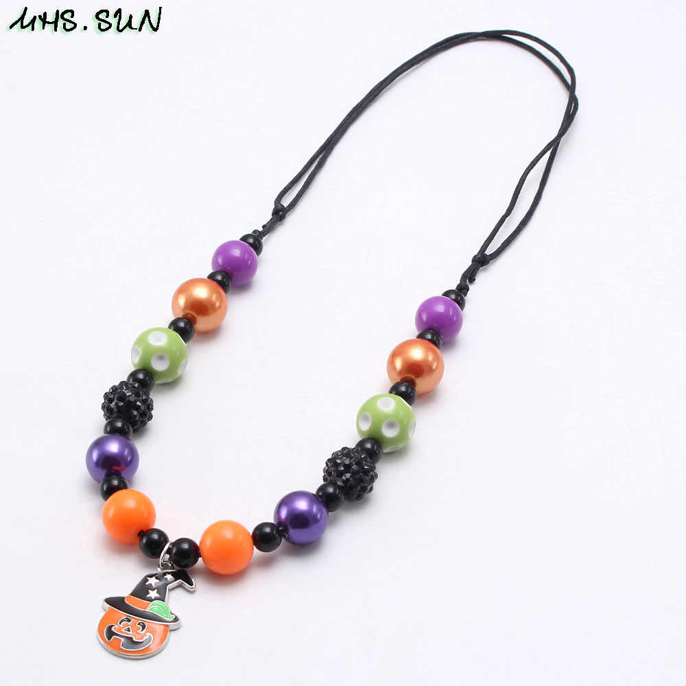 MHS.SUN hollaween style baby kids chunky bubblegum beads necklace with pumpkin pendant diy girls rope chain necklace gift 1pc