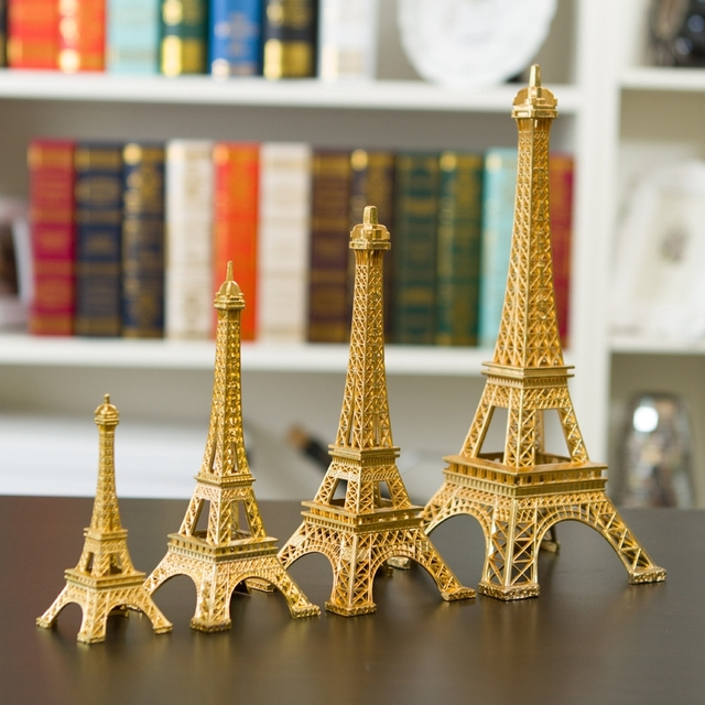 New Gold Paris Eiffel Tower Miniature Figurine Room Ornaments Model Crafts Shooting Props Home Decor