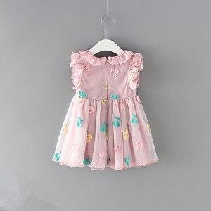 Image 2 - Dziewczynek sukienka 100% bawełna Cherry haft bufiaste rękawy koronki niemowlę noworodka piłka dla niemowląt suknia wieczorowa 0 2Y