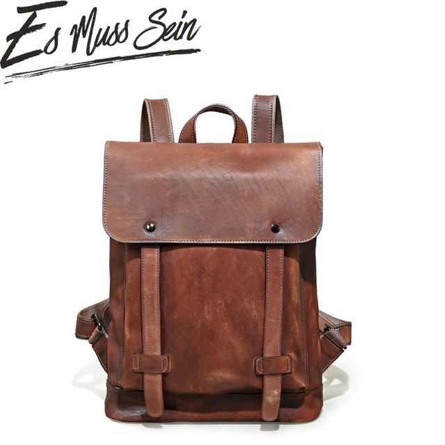 1f1440acc EsMussSein Male Functional Bag Fashion Men Backpack Vintage Crazy Horse Leather  Backpack Big Capacity Men Travelling Laptop Bag
