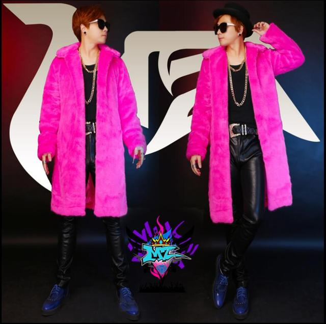 HOT 2016 new Men singer DJ MZ exclusive right Zhi-Long GD red long imitation mink fur coat costumes nightclub clothing