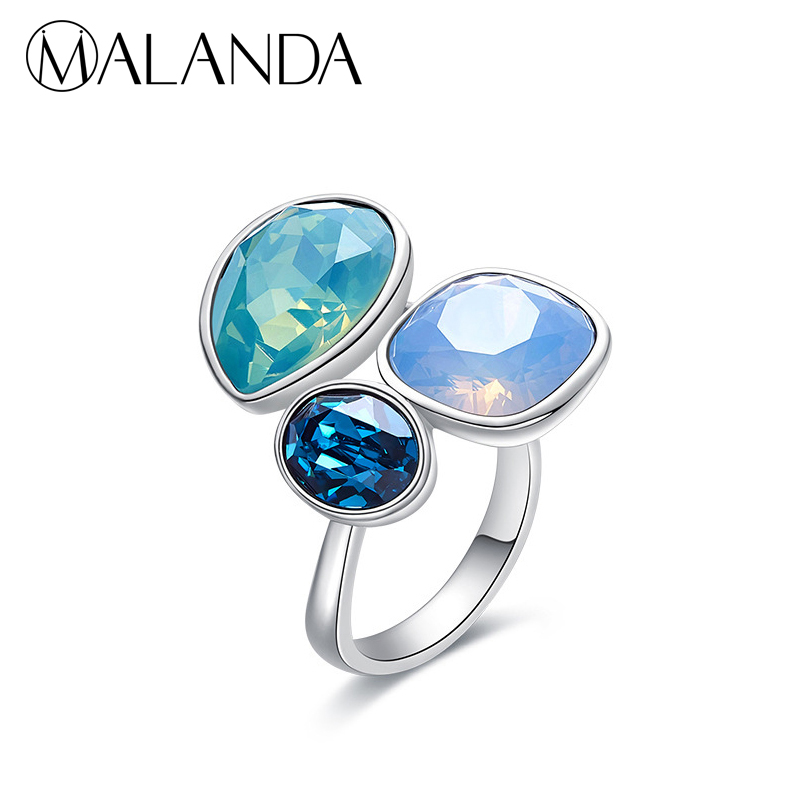 MALANDA Round Heart Square Colorful Crystal Open Rings For Women Crystal From Swarovski Fashion Silver Color Rings Jewelry Gift 6pcs of stylish color glazed round rings for women