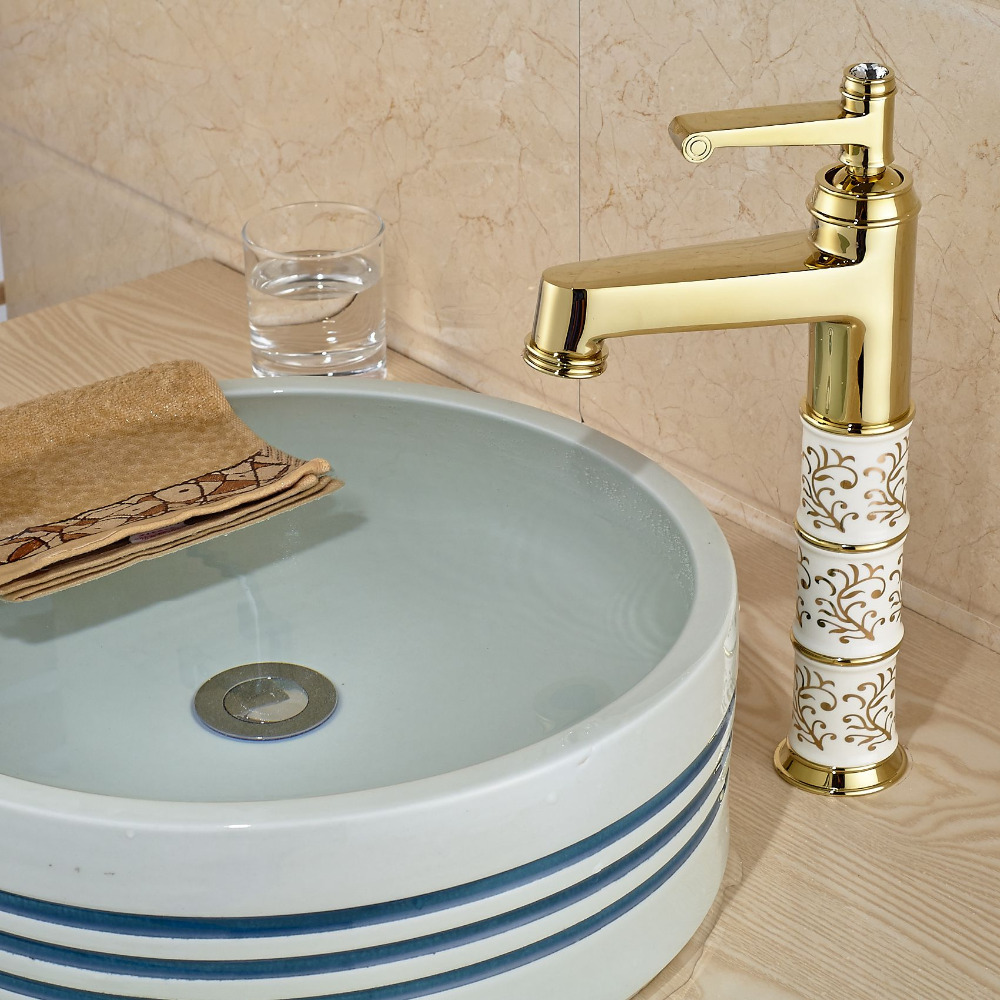 Luxury Design Gold Brass Basin Sink Mixer Tap Faucets Single Handle