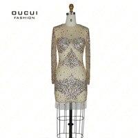 Tuell Ткань 100% Кристалл Ручная High End Прозрачный Модные пикантные вечерние платье OL102253